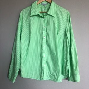 FOXCROFT Stripes Green Shaped Button Down Blouse